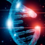 Abstract luminous DNA molecule. Genetic and gene manipulation concept. Cut of replacing part of a DNA molecule. Medicine. Innovative in science. Medical science and biotechnology.